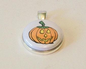 Cute Halloween Fall Pumpkin Jack O Lantern Round Silver Fashion Pendant
