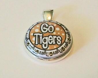 Unique Gold and Black Go Tigers Round Silver Fashion Pendant