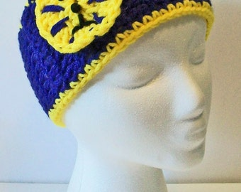 Trendy Purple and Gold Tigers Hand Crocheted Headband Ear Warmer Child & Adult Sizes Available