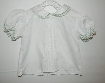 Vintage 1970s White Princess Sleeve Baby Girl Shirt With Green Piping Size 12 Months