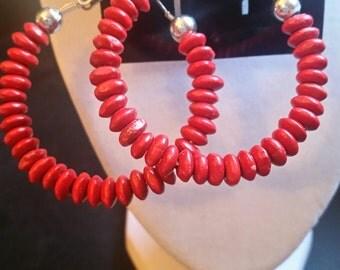 DBC  Red  Beaded Hoop Earrings