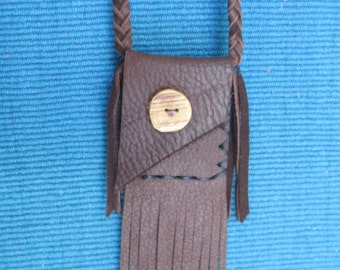 Neck Pouch with Fringe in Brown Deerskin with Cedar Button, Braided Strap