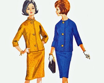 60s Skirt Suit Pattern / McCalls 7116 Junior Petite Suit Vintage Sewing Patterns for Women / Jackie O Pencil Skirt & Cropped Jacket Bust 32