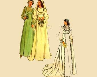 Vintage 70s Wedding Dress Patterns / Butterick 4887 SZ 10 / Womens Vintage Sewing Patterns / 1970s Bridal Gown & Bridesmaid Dress Pattern