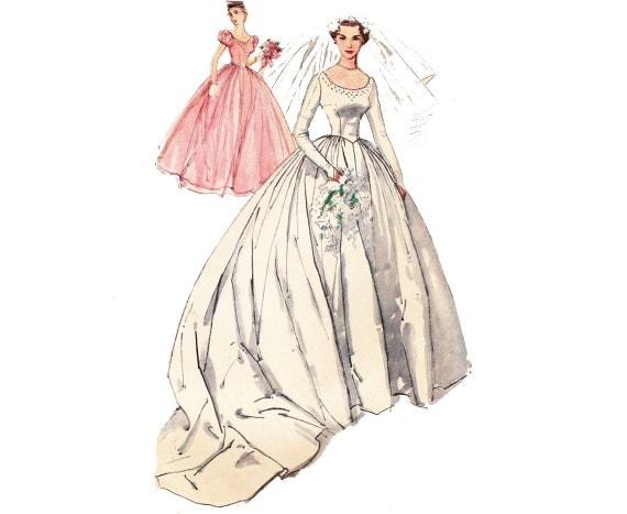 Vintage 50s Wedding Dress Pattern / 1950s Bridal Gown