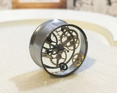 PRE-ORDER 20mm steampunk plug stainless steel recycled watch pieces, gauges, flesh tunnels, recycled watch pieces resin