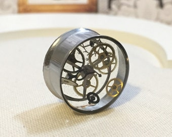 PRE-ORDER! 40mm steampunk plug  stainless steel recycled watch pieces, gauges, flesh tunnels, recycled watch pieces resin
