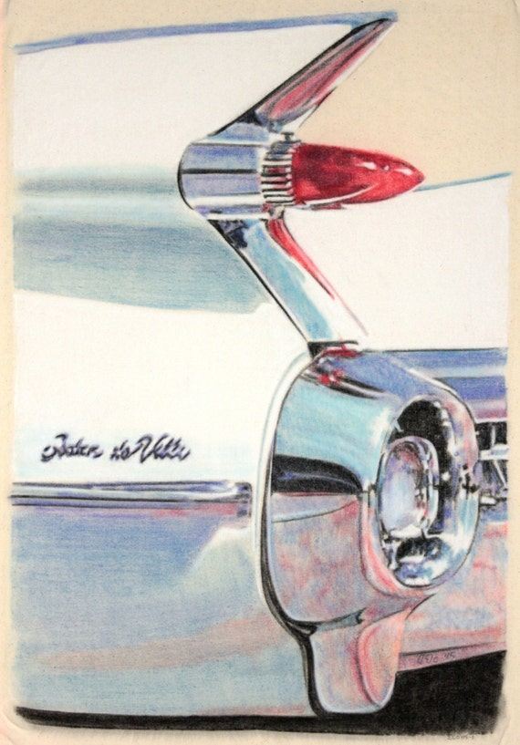 Original one-off drawing of the rear light and fin of a 1959 Cadillac Sedan de Ville, in charcoal and pastel on calico