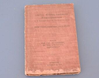 Antique U.S. Railroad Administration Book New York Central Railroad 1918 Railroadiana
