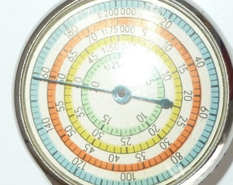 Vintage Map Measure Wheel double sided with Case