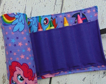 My Little Pony Crayon Roll, Crayon Organizer, Kids Gift, Party Favor, Stocking Stuffer