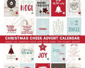 CHRISTMAS ADVENT CALENDAR Rustic Holiday Cheer Prints //  25 4x6 Holiday Prints // Instant Download
