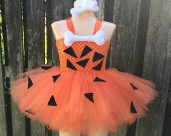 Pebbles tutu dress/ Flintstone tutu/ pebbles costume/ pebbles tutu/ Halloween costume/ Halloween tutu/ Halloween costume/ tutu costume