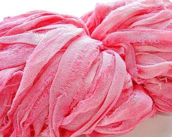 2 Yards Pink Candy Hand Dyed Chiffon Silk Ribbon