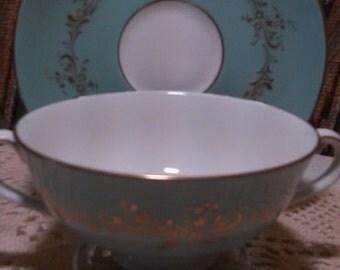"Vintage Royal Doulton ""Melrose"" Bouillon/Soup Cup and Saucer"