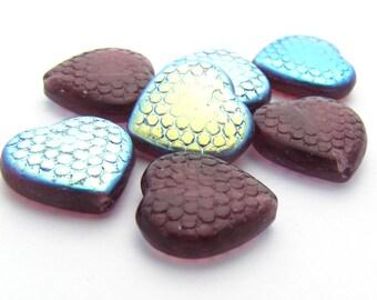 Amethyst AB 14mm Honeycomb Heart Czech Glass Beads 10pc #2970