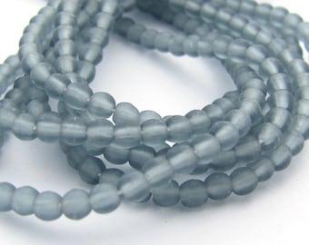 Matte Light Montana Blue 3mm  Round Czech Glass  Beads 100pc #2983