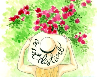 Do Not Disturb Hat - Watercolor Fashion Illustration