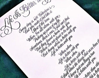 Custom Calligraphy Song- Elegant flourished handwritten song