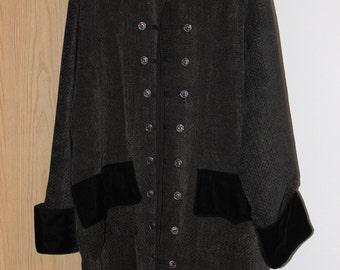 Men's Dark Gray/Black Frock Pirate Coat