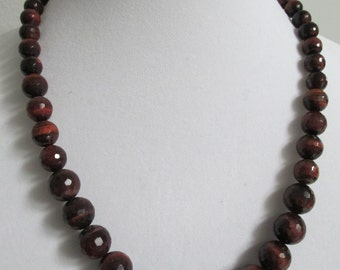 Beautiful Vintage Red Tiger's Eye 24 Inch Necklace with Sterling Clasp