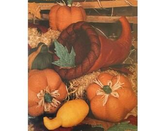 FREE PATTERNS, Autumn Harvest, Uncut Pumpkin, Squash, Gourd, Leaves, Cornucopia, 392
