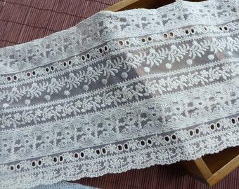 Vintage Style Cotton Lace Trim, Ecru Embroidered Mesh Lace, Bridal Accessory Lace Trim