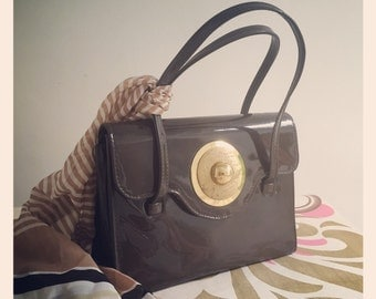 Reduced* 1960's Patent Kelly Bag - Brown