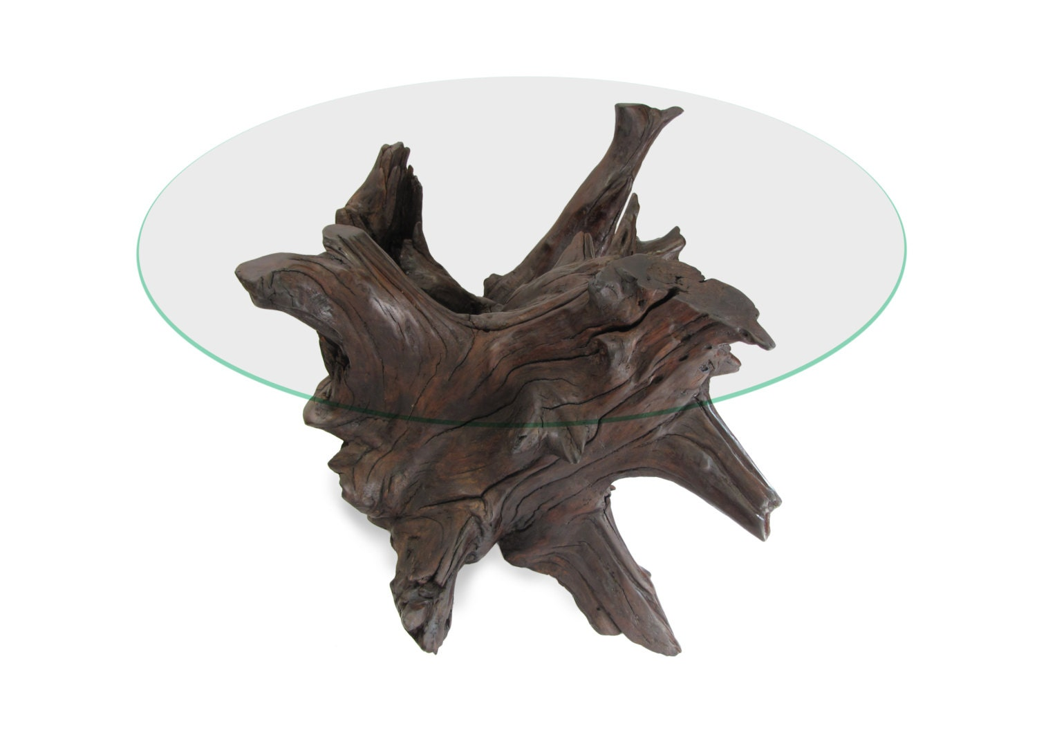 Walnut Coffee Table Driftwood Root Glass Top Table Base