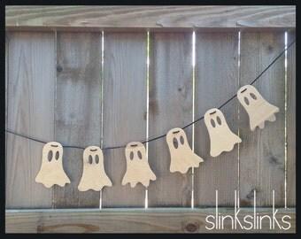 Wooden Ghost Garland, Halloween Decor