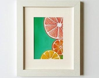 Citrus art print, Kitchen wall decor, Colorful wall art, Fruit Print, Kitchen art, 5 x 7, 8 x 10