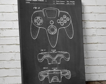 Nintendo 64 Controller Patent Canvas Art, Nintendo Canvas Art, Gamer Gift, Game Room Decor, Canvas Wall Decor, PP0086