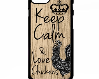 Keep calm & love chickens hen rooster phrase quote gift art cover for iphone 4 4s 5 5s 5c 6 6 plus phone case