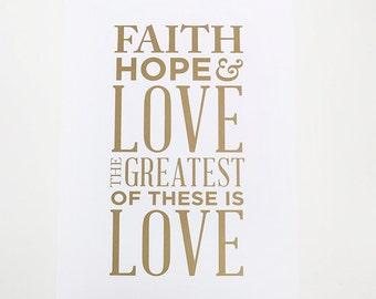 Wedding Print, Faith, Hope & Love Poster, Wedding Decor, Guest Book, Scripture Print
