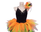 Neon Tutu Skirt Pumpkin Hallowen Fancy Dress 1980s Party 6 Layers Black Flo Green Orange