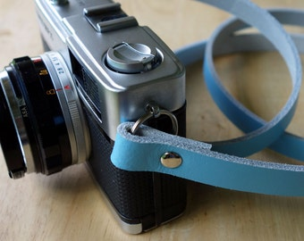 Handmade Leather Camera Neck Strap - Light Blue