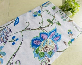 Asian style floral cotton linen printed fabric ,for dress,home decor ,tablecloth--1/2 yard
