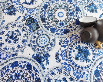 Asian/Chinese style vintage cotton linen fabric printed with beautiful navy blue flower china plates ,----1/2 yard