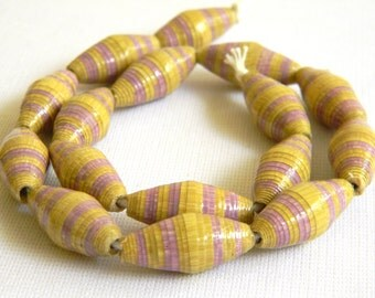 Paper Beads - Hand painted - Lot of 16 - #114