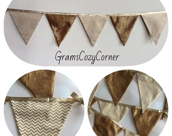 Caramel crinkle and gold metallic chevron fabric banner, handmade holiday decor, Christmas Banner, CIJ, product ID# G-082