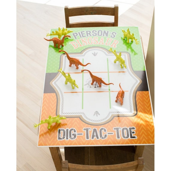 Dinosaur Excavation Dino Dig Birthday Tic Tac Toe Poster