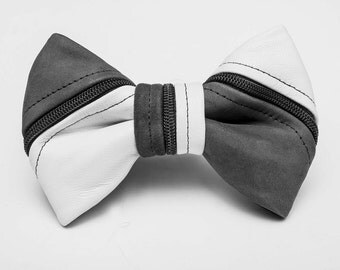 White Leather & Suede Zipper Bow Tie
