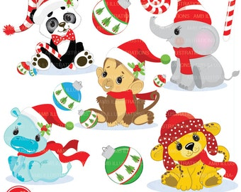 80%OFF Christmas Jungle Animals clip art, Jungle animal clipart, Chrstimas clipart, commercial use, vector graphics, AMB-999