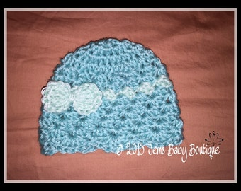 Newborn Crochet hat, robins egg and light green Crochet Baby Girl Hat with small bow, made to Order, Photo Prop Beanie