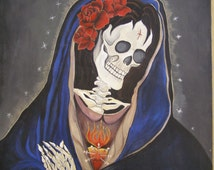Dia De Los Muertos, Collectable Art Prints, Artist, Reproduction, Day Of The Dead, Religious Art, Sorrowful Mother, Gift Ideas for collector