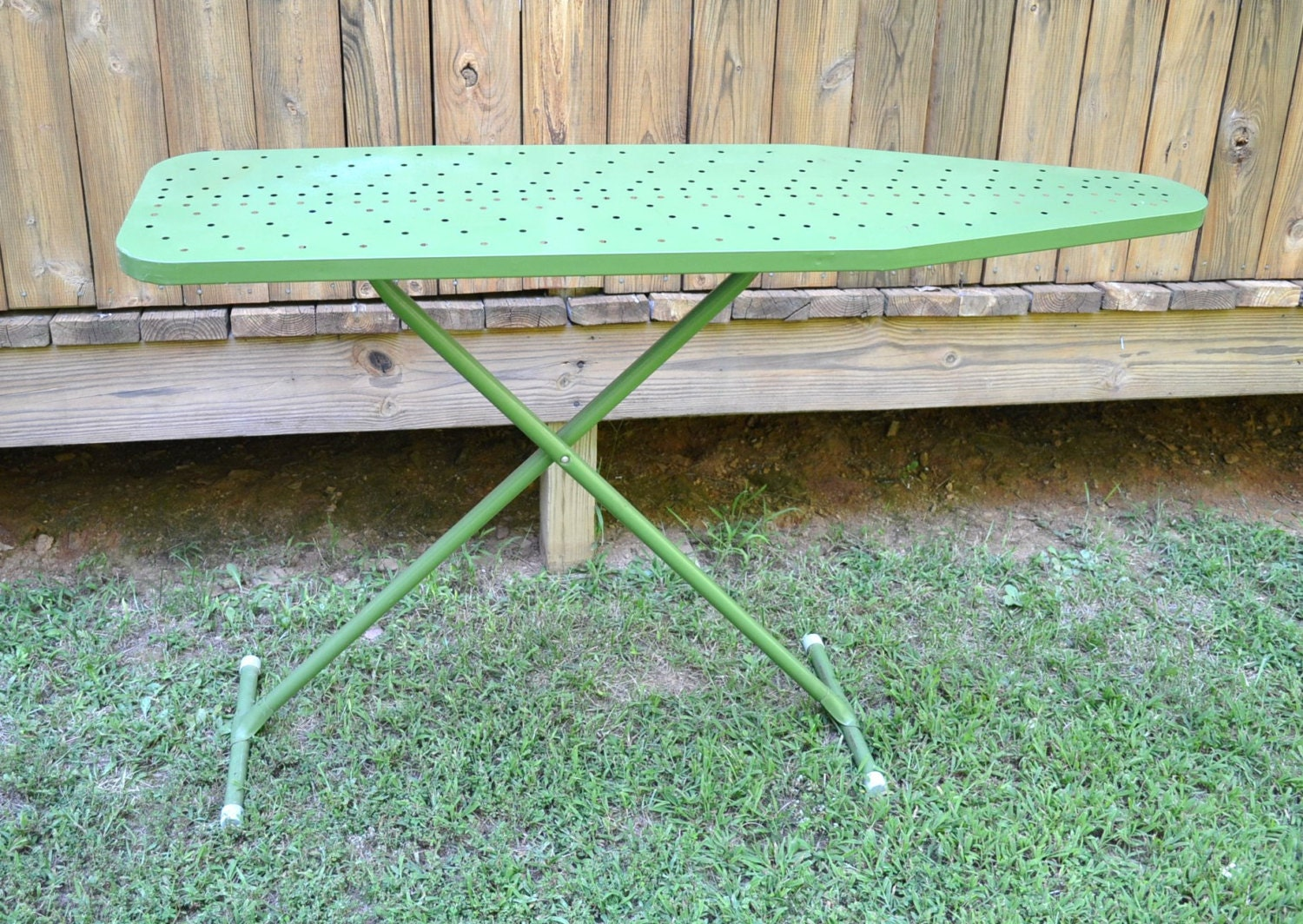 Vintage Ironing Board Metal Green Retro Laundry By