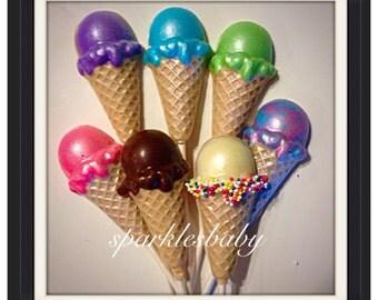Ice Cream Cone Chocolate Lollipops - Ice Cream Party Favors set of 12