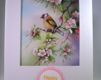 Handmade Birthday decoupage Bird Card ,goldfinch,personalise,3D
