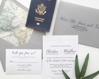 Travel Map Wedding Invitation   Destination Wedding Invitations   SAMPLE INVITE