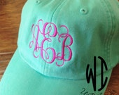 Monogrammed Hat Monogram Cap with Cool Mesh Lining and Adjustable Leather Strap Bridal party or bridesmaid gift